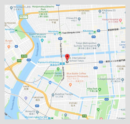 Google map location to K International School, Tokyo